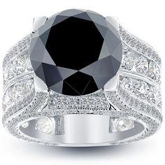 12.57 Carat Certified Natural Black Diamond Engagement Ring 14k White Gold #LioriDiamonds #DiamondEngagementRing