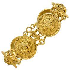 "Antique Victorian Castellani Gold ""Millefiori"" Plaque Link Bracelet | From a unique collection of vintage link bracelets at https://www.1stdibs.com/jewelry/bracelets/link-bracelets/"