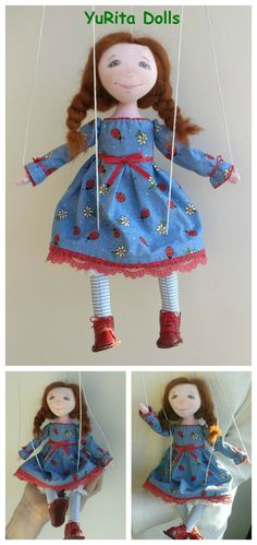Please meet Maya, very special marionette doll. She is small, cute and always in a good mood. This little girl will bring much joy and fun into your life! She can be operated on a small table in the marionette theatre or you can hang her in a children's room. Maya will always make you smile.