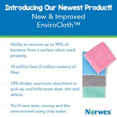 Clean more safely, quickly and thoroughly using superabsorbent Norwex EnviroCloths. You'll save time, money and the environment using only water—reducing landfill waste, eliminating chemicals in waterways and protecting your family's health as you cut down on dust and reduce chemicals in your home. Now thicker, more absorbent and even more effective! #Norwex2015
