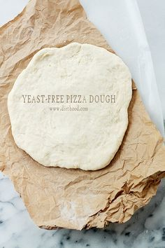 Yeast-Free Pizza Dough: To make Gluten Free, use King Arthur All Purpose GF Flour and 1tsp xanthan gum to recipe.  Fast and simple recipe for Pizza Dough made without yeast that is delicious and SO easy to make!