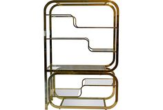 1970s Etagere, Brass and Glass