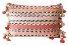 One Kings Lane - All About Her - Coral Woven Ikat Pillow