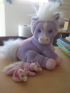 Hasbro 1994 Pony Surprise with 2 Baby Horses Purple Pink White Vintage | eBay