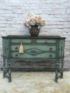 Hand Painted Pieces by Kellies Creations.... https://www.facebook.com/Kellies-Creations-281430805274799/ - painted furniture - green dresser - painted dresser