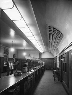 """""""Are the public really after the date stamp?"""": Photograph albums of post office interiors in POST 91 British Architecture, Architecture Office, Photograph Album, Post Office, Office Interiors, 1950s, Public, Brand Inspiration, Royal Mail"""