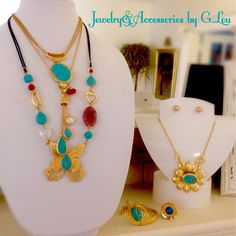 LoveThisCollection.Turquoise.Agate. Turkey&Turquia.HandMade.MatteGold. Necklaces&Bracelet.StainlessSteelRing. MotherPearls.Spring&SummerCollection