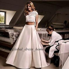 Two Pieces 2016 Satin Prom Quinceanera Formal Gown Princess Lace Wedding Dresses