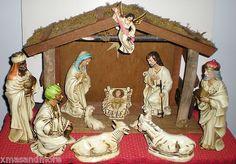 """LG 12"""" Vintage Christmas Composition NATIVITY MANGER SET"""