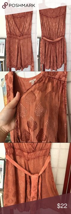 🆕Ecote romper elegant terra-cotta Size S (fits best on juniors 5-7, woman's 2-4) • 100% viscose/ hand wash cold • Washed but never worn (rompers are just not my thing) • In flawless condition! • A romantic & beautiful light dirt red textile w/ a sleek sheen • Opaque • Originally purchased at Urban Outfitters in Waikiki, Hawaii! Any questions, just ask!              📦NOTE: Don't forget to consider bundling! Did you see my listings under $10? Ecote Dresses Mini