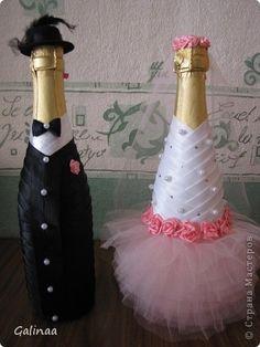 Декор предметов <strong>мастер классы по поделкам для свадьбы</strong> Свадьба Декупаж Свадебное шампанское и бутылочки Ленты фото 1