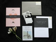 fun modern wedding suite-- especially love the save the date calendar & mini envelope