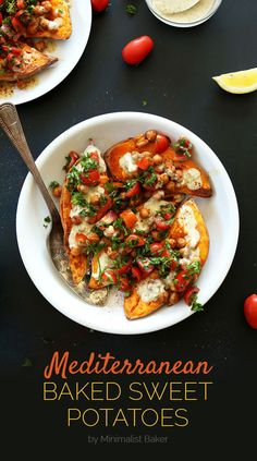 Speaking of good stuff, how about Mediterranean Baked Sweet Potatoes? We admit we are recipe freaks, and we love this Mediterranean Baked Sweet Potatoes. Sweet Potato Recipes, Veggie Recipes, Whole Food Recipes, Healthy Recipes, Chickpea Recipes, Loaded Sweet Potato, Vegan Stuffed Sweet Potato, Easy Recipes, Sweet Potato Toppings