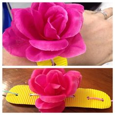 """Flower """"corsage"""" from my daughter's preschool class for Mother's Day. Made with corrugated cardboard, silk flower, and colorful string. A great Mother's Day craft for any moms you're celebrating!"""