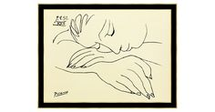 "This is a very high-quality fine-art serigraph of a 1952 work by Pablo Picasso entitled ""War and Peace,"" featuring a young woman resting her head in her arms. This print has been custom-framed in..."