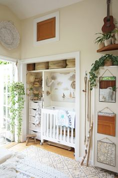 Tiny Canal Cottage Bedroom Makeover for a New Mom | converted closet nursery