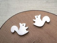 Forest Squirrel Earring  silver stud earrings  by StudioRhino, $24.00