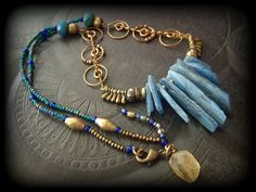 Vintage Brass Chain Blue Kyanite Daggers Glass by YuccaBloom