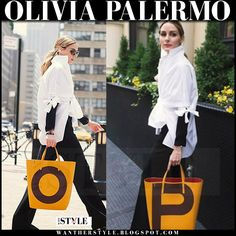 Olivia Palermo in white blouse, black pants with orange tote