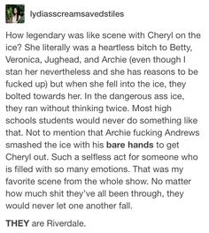 Can we not just hate on Cheryl though? Like, she's bloody Riverdale with her clinical depression that her shittyass parents who don't care about her failed to notice.