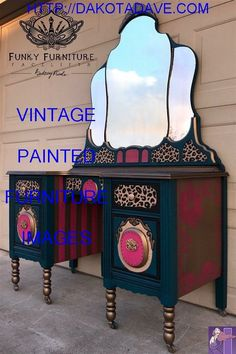 Wow the paint jobs on some of these vanities are absolutely stunning. So much detail and the way they used the colors/ paint/ wax(or whatever protective layer they used on these last few pieces I pinned) are just mind blowingly gorgeous - May 25 2019 at Funky Painted Furniture, Refurbished Furniture, Paint Furniture, Unique Furniture, Repurposed Furniture, Furniture Projects, Furniture Makeover, Vintage Furniture, Furniture Decor