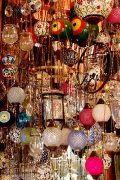 """Hanging Lamps At the Kapalıçarşı (""""Covered Bazaar""""), also known as the Grand Bazaar, built in the 1400's in Istanbul, Turkey"""