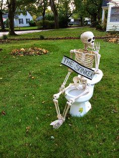 Outdoor Halloween decor. Skeletons. DIY yard for halloween in the PNW.