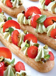 Strawberry Eclairs with Candied Pistachios is a sponsored post on behalf of Robert Rose Publishing. All images & recipe used with permission. French Desserts, Just Desserts, Delicious Desserts, Yummy Food, Pastry Recipes, Gourmet Recipes, Dessert Recipes, Baking Recipes, Whipped Goat Cheese