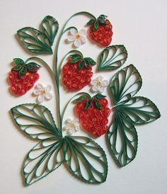 strawberries quilling .... love the leaves !