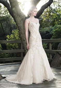 Casablanca Bridal mermaid styled gown with sweetheart neckline, tulle skirt, sheer illusion back, and floral lace embellishments I Style: 2256 Sage I https://www.theknot.com/fashion/2256-sage-casablanca-bridal-wedding-dress?utm_source=pinterest.com&utm_medium=social&utm_content=july2016&utm_campaign=beauty-fashion&utm_simplereach=?sr_share=pinterest