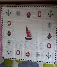 Denizci battaniyesi modelleri Sailor's blanket models Sailor's blanket models Hello ladies who produce, share the sailor blanket models that are the most beautiful breeze of the sea for you … the the blanket Crochet Quilt, Afghan Crochet Patterns, Baby Knitting Patterns, Crochet Motif, Baby Blanket Crochet, Crochet Baby, Cross Stitch Designs, Cross Stitch Patterns, Manta Crochet