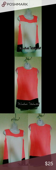 Multi color sleeveless coral Blouse Sleeveless chiffon blouse Mostly Coral w/ white front and black bottom Point Tops Blouses
