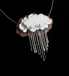 Rain Cloud Necklace Silver Lining by NIKJewelry on Etsy, $250.00