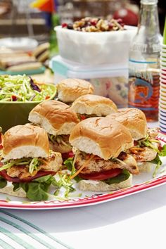 Baja Chicken Sliders...these are ridiculously good!  Made them last night on my George Foreman grill.  No heavy sauces, very fresh ingredients and flavors.  A big hit with my family!