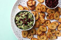 Crispy plantain chips are the perfect vehicle for a chunky avocado lime pomegranate dip. Warning this easy recipe is highly addictive! Vegan Gluten Free Nut Free No added Sugar Vegan Gluten Free, Vegan Vegetarian, Create A Recipe, What's Cooking, What To Cook, Meals For The Week, Nut Free, Palak Paneer, Pomegranate