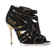 Open-toe booties in black and gold by Sergio Rossi. #newcollection