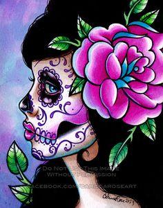 RESERVED for Kimberly Ross Sugar Skull Girl Signed by NeverDieArt