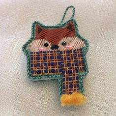 Cozy Critters Fox ornament ~ canvas by Burnett&Bradley