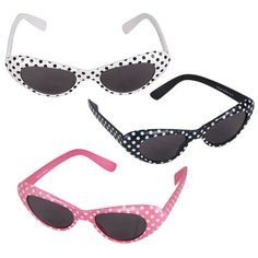 Private Island Party  - Dozen Cat Eye Sunglasses Polka Dots Bulk Mix Colors 7080 - Buy in Bulk for your next Party!
