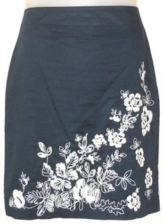 Ann Taylor Embroidered Cotton Skirt Blue