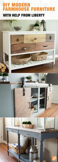 Add comfort and character to any room with your own DIY Modern Farmhouse Furniture. All you'll need is some lumber and stain, as well as some Liberty pulls to take on the project. Don't be afraid to mix finishes either when making pieces your own! Click through to get the full how-to on The Home Depot Blog.
