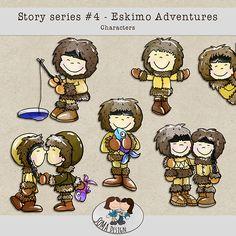 Story Series - Eskimo Adventures Characters The Eskimo Adventures is the fourth part of our Story series. Digital Scrapbooking, Adventure, Comics, Characters, Design, Art, Craft Art, Figurines, Kunst