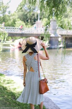 summer style // striped dress, straw hat with DIY bow ribbon (click photo to shop this look)
