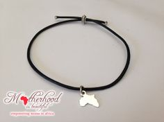 Black Leather Bracelet - with silver shape of Africa Charm (adjustable for any size wrist) #Africa #Handmade