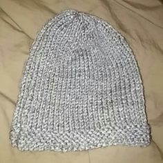 Fitted knit beanie Gray with thick knit trim Accessories Hats