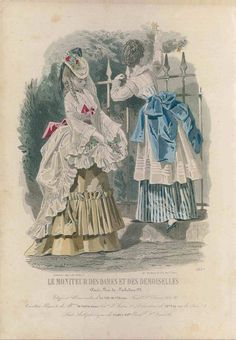 Victorian fashion plate from 1871, love both bustle styles, especially striped dress!:
