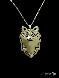 Long Coat Chihuahua jewelry - 18k gold plated Sterling silver pendant and necklace