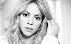Download wallpapers Shakira, Colombian singer, portrait, 4k, monochrome, beautiful woman, Shakira Isabel Mebarak Ripoll