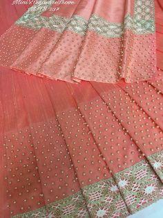 Indian Clothes, Indian Dresses, Indian Outfits, Embroidery Saree, Embroidery Suits, Handloom Saree, Salwar Kameez, Cotton Saree Blouse Designs, Peach Saree