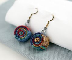 Cute Earrings from recycled fabric blue tones-Cute by ChezChizzi